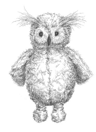 Clementine's Owl Toy (Jellycat Owl), commission drawing made out of Clementine's name (text).