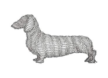 Danielle's Dog, line drawing made out of text (Danielle).
