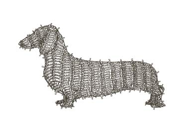 G1 Dog, line drawing made out of the artist's signature.