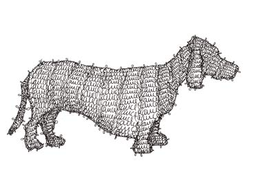 G2 Dog, line drawing made out of the artist's signature.