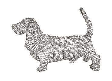 Theo's Basset Hound Dog, commission, drawing made out of text (Theo).