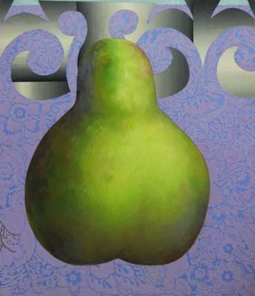 Painting - Green on Violet (pear), oil, glass beads and synthetic crystals on canvas