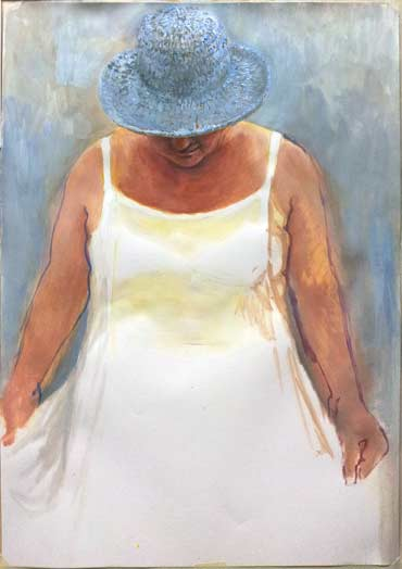 The White Dress, study, 2014, acrylic on paper.