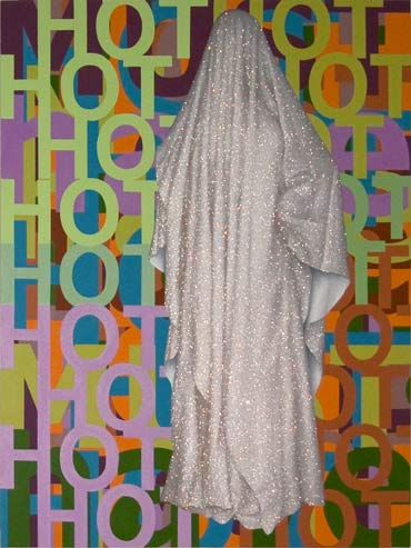 Hot Must Have 2004, acrylic, oil and synthetic crystals on canvas, 184 x 138 cm.