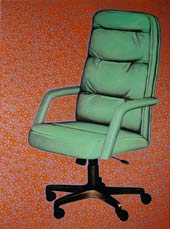 Leather Look (office chair), 1998, oil, mixed media on canvas, 101 x 76 cm.