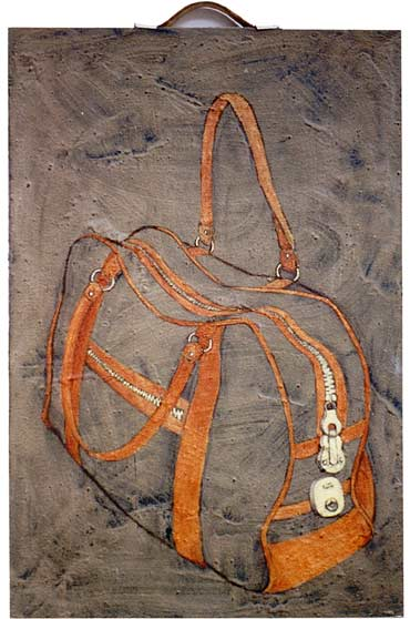 Cement Bag, 1994, acrylic, cement and leather handle on canvas, 80 x 51 cm.