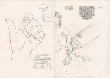 Sketchbook A4-02, 01. Line drawings, pencil (my hand, web woman and objects).