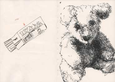 Sketchbook A4-02, 14c. Ink drawing with words (Rizla and Bear).