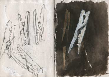 Sketchbook A5-05, 23. Line drawings, graphite, acrylic and collage (pegs).