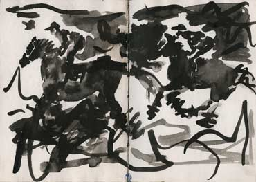 Sketchbook A5-05, 32. Ink drawing (running horses and riders).