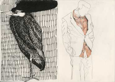 Sketchbook A5-06, 17. Posers. Left, bird, ink drawing. Right, man in suit, pencil and pitt pen.