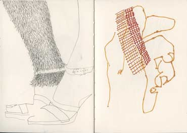 Sketchbook A5-06, 20. Left: pencil drawing (hairy leggings). Right: pitt pen (hand with trim).