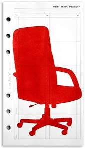 Small Comforts :: Chair 01, Monoprint on Personal Filofax paper. (Red office chair)