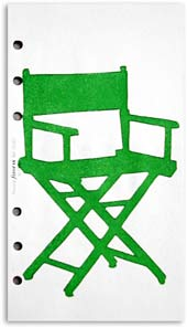 Small Comforts :: Chair 03, Monoprint on Personal Filofax paper. (Folding chair)